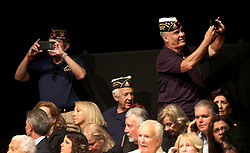 June 16, 2017 - Miami, FL, USA - Supporters take photos as they wait while the stage is set for President Donald Trump at the Manuel Artime Theater in Miami Friday June 16, 2017. The president is expected to unveil the changes he's making to the Obama-era policies toward Cuba. (Credit Image: © Mike Stocker/TNS via ZUMA Wire)
