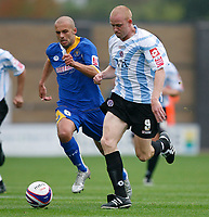 Photo: Steve Bond.<br />Shrewsbury Town v Chesterfield. Coca Cola League 2. 13/10/2007. Derek Niven (L) sets off pursued by david Hunt