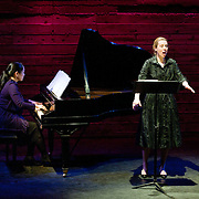 January 14, 2012 - Brooklyn, NY  From left, pianist Miori Sugiyama and soprano Emily Riggs perform the work of Charles Ives at the Galapagos Art Space in DUMBO, Brooklyn, on Saturday evening..CREDIT: Karsten Moran for The New York Times