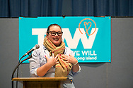 Wyandanch, New York, USA. March 26, 2017. LAUREN CORCORAN-DOOLIN, Democratic Leader, Town of Hempstead, is speaking at Politics 101 event, the first of series of activist training workshops for members of TWW LI, the Long Island affiliate of national Together We Will. One of the 5 speakers referred to groups such as TWWLI as activist pop-up groups.
