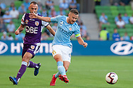 MELBOURNE, VIC - JANUARY 19: Melbourne City defender Scott Jamieson (3) passes on the ball at the Hyundai A-League Round 14 soccer match between Melbourne City FC and Perth Glory at AAMI Park in VIC, Australia 19th January 2019. Image by (Speed Media/Icon Sportswire)