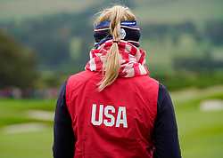 Auchterarder, Scotland, UK. 12 September 2019. Final practice day at 2019 Solheim Cup on Centenary Course at Gleneagles. Pictured; Detail of hair of Jessica Korda. Iain Masterton/Alamy Live News