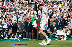 LONDON, ENGLAND - Sunday, July 10, 2016:  An emotional and ecstatic Andy Murray (GBR) after winning the Gentlemen's Singles Final match against Milos Raonic (CAN) on day fourteen of the Wimbledon Lawn Tennis Championships at the All England Lawn Tennis and Croquet Club. (Pic by Kirsten Holst/Propaganda)