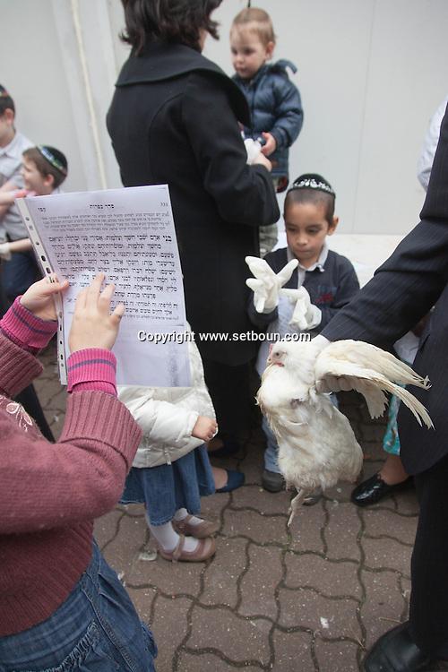 France. Brunoy ,  lubavitch yechiva Tom'hei Temimim , religious school,  The kapparot ceremony with chicken