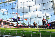 Callum Wilson (13) of AFC Bournemouth header beats Jordan Pickford (1) of Everton but it rebounds off the post to Nathan Ake (5) of AFC Bournemouth who scores the equaliser to make the score 2-2 during the Premier League match between Bournemouth and Everton at the Vitality Stadium, Bournemouth, England on 25 August 2018.