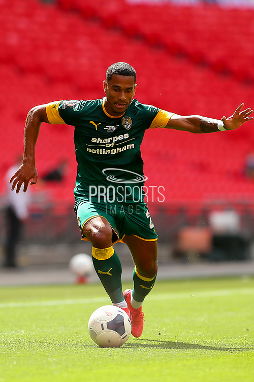 Notts County defender Richard Brindley (20)  during the Vanarama National League Promotion Final match between Harrogate Town and Notts County at Wembley Stadium, London, England on 2 August 2020.