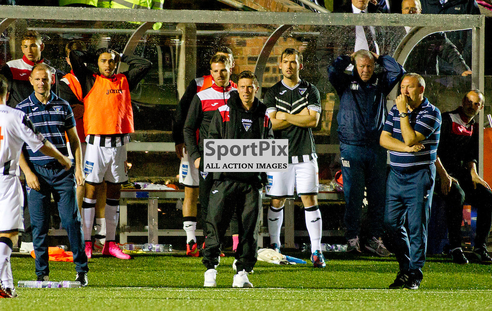 Forfar v Dunfermline Athletic Petrofac cup second round Station Park 18 August 2015<br /> Shock on the Dunfermline bench after Ryan Williamson is seriously injured <br /> CRAIG BROWN | sportPix.org.uk