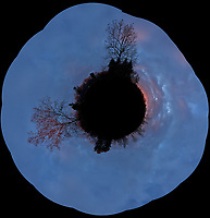 Pillar of Light at Sunrise -- Little Planet Panorama. Composite of 18 images taken with a Leica CL camera and 23 mm f/2 lens (ISO 200, 23 mm, f/8, 1/60 sec). Raw images processed with Capture One Pro and the composite created using AutoPano Giga Pro.