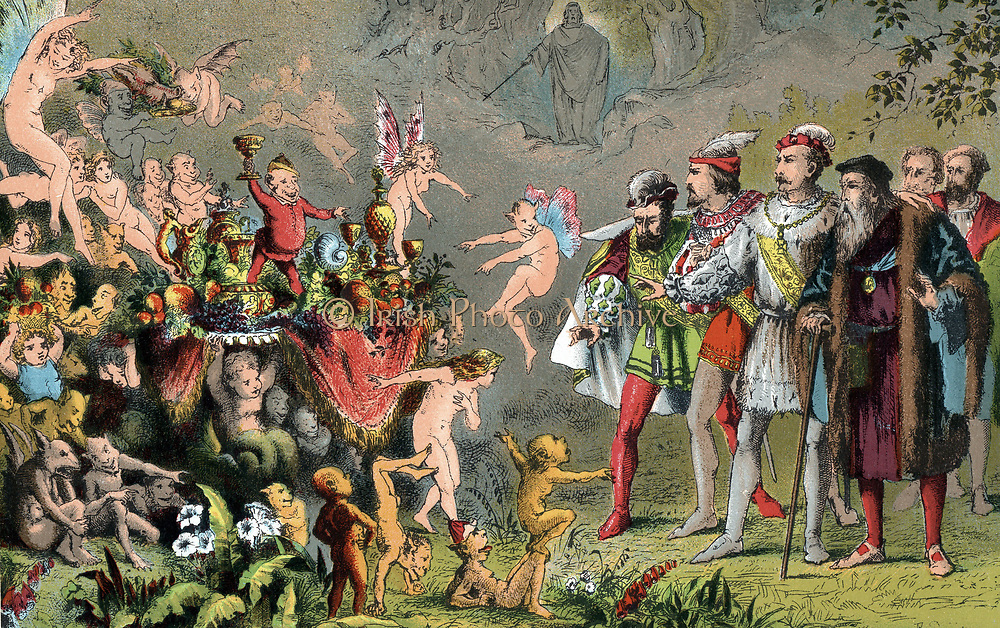 Alonso, King of Naples, shipwrecked with his court on Prospero's enchanted island, amazed by the fairies, goblins and strange creatures preparing a banquet. Prospero, invisible to mortals, stage manages everything (centre back) 'The Tempest' Act 3 Sc 3. Chromolithograph designed by Robert Dudley for edition of Shakespeare's Works published 1856-1858. Play first performed c1611.
