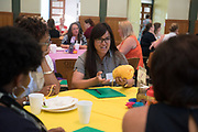 Jamuna Maharjan participates in an activity prior to meeting her mentor during the Women's Mentoring Meet and Greet event on Sept. 4, 2018 in Walter Rotunda. Photo by Hannah Ruhoff