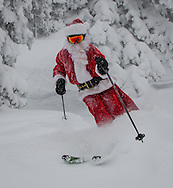 Santa Claus skies fresh powder, Steamboat Springs, Colorado.