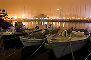 Trieste, Porto vecchio visto da uno dei moli della Sacchetta. Trieste, an old port seen from the docks of Sacchetta.