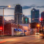 At 20th and Grand looking north toward the Kansas City, Missouri skyline.