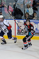 KELOWNA, CANADA, OCTOBER 5: Mackenzie Johnston #22 of the  Kelowna Rockets skates on the ice against the Tri City Americans on October 5, 2011 at Prospera Place in Kelowna, British Columbia, Canada (Photo by Marissa Baecker/shootthebreeze.ca) *** Local Caption *** Mackenzie Johnston;