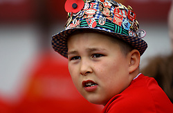 A Sunderland fan looks on in a hat of Sunderland badges - Mandatory by-line: Robbie Stephenson/JMP - 28/10/2017 - FOOTBALL - Stadium of Light - Sunderland, England - Sunderland v Bristol City - Sky Bet Championship