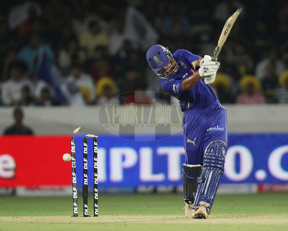 Rahul Dravid of Rajasthan Royals being bowled by Dale Steyn (not in picture) of DEccan Charger during match 2 of the Indian Premier League ( IPL ) between the Deccan Chargers and the Rajasthan Royals held at the Rajiv Gandhi International Cricket Stadium in Hyderabad on the 9th April 2011...Photo by Parth Sanyal/BCCI/SPORTZPICS