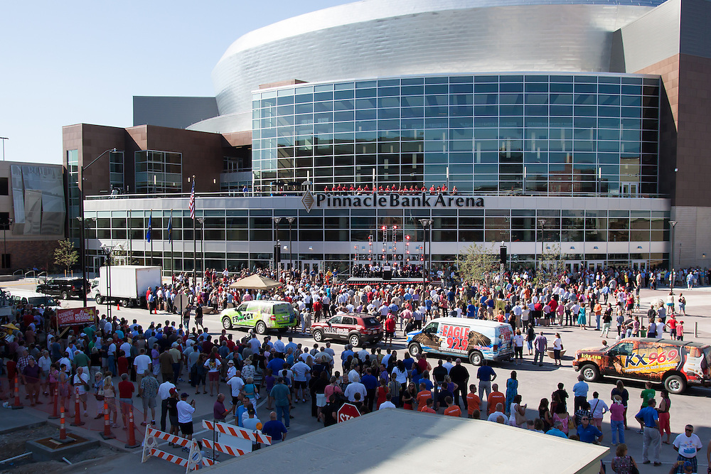 August 29, 2013: Husker fans gather for the Grand Opening of the Pinnacle Bank Arena in Lincoln, Nebraska.