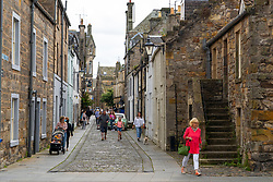 View along historic College Street in central St Andrews, Fife, Scotland, UK