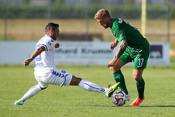 18.07.2014, Sportplatz Jettingen, Jettingen, GER, FS Vorbereitung, Karlsruher SC vs FC Augsburg, im Bild l-r: im Zweikampf, Aktion, mit Manuel Torres #18 (Karlsruher SC) und Marcel De Jong #17 (FC Augsburg) // during a Friendly Match between Karlsruher SC and FC Augsburg at the Sportplatz Jettingen in Jettingen, Germany on 2014/07/18. EXPA Pictures © 2014, PhotoCredit: EXPA/ Eibner-Pressefoto/ Kolbert<br /> <br /> *****ATTENTION - OUT of GER*****