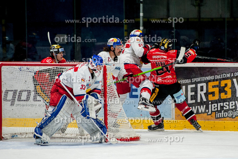 27.11.2016, Ice Rink, Znojmo, CZE, EBEL, HC Orli Znojmo vs EC Red Bull Salzburg, 24. Runde, im Bild v.l. Patryk Wronka (HC Orli Znojmo) Luka Gracnar (EC Red Bull Salzburg )Lukas Kainz(EC Red Bull Salzburg ) Matthias Trattnig (EC Red Bull Salzburg ) Jan Seda (HC Orli Znojmo) // during the Erste Bank Icehockey League 24th round match between HC Orli Znojmo and EC Red Bull Salzburg at the Ice Rink in Znojmo, Czech Republic on 2016/11/27. EXPA Pictures © 2016, PhotoCredit: EXPA/ Rostislav Pfeffer