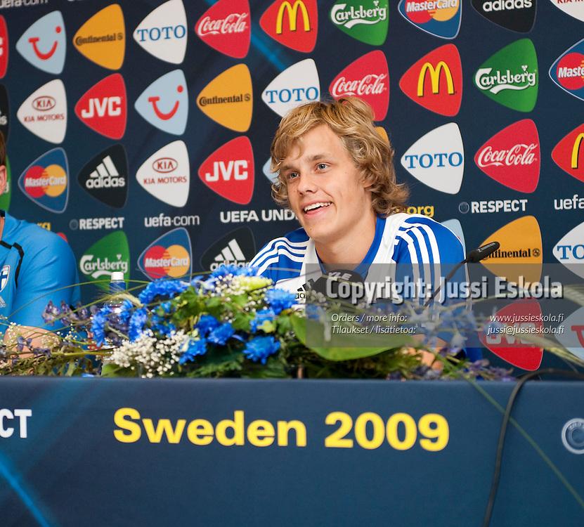 Teemu Pukki. Alle 21-vuotiaiden maajoukkueen harjoitukset. Gamla Ullevi, Göteborg, Ruotsi 21.6.2009. Photo: Jussi Eskola