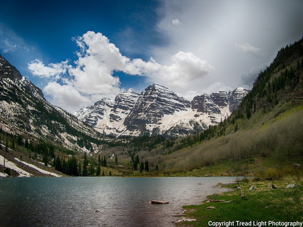 Maroon Lake overlook of the Maroon Bells near Apsen,CO , still loaded with snow in late spring.