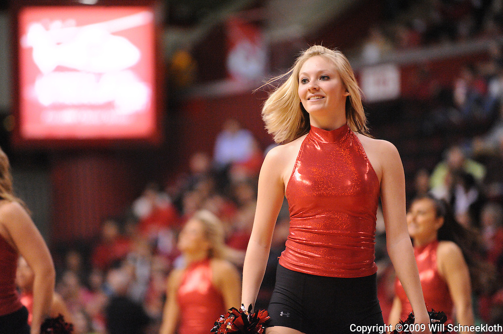 Feb 24, 2009; Piscataway, NJ, USA; A member of the Rutgers University Dance team performs during the first half of Rutgers' 71-53 victory over Cincinnati at the Louis Brown Athletic Center.