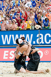 Clemens Doppler and Matthias Mellitzer of Austria celebrating victory at A1 Beach Volleyball Grand Slam tournament of Swatch FIVB World Tour 2010, on July 31, 2010 in Klagenfurt, Austria. (Photo by Matic Klansek Velej / Sportida)