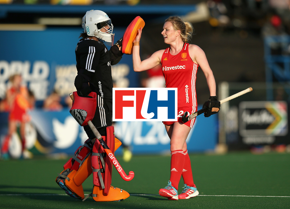 JOHANNESBURG, SOUTH AFRICA - JULY 18: Maddie Hinch of England and Hollie Webb of England celebrate their sides third goal during the Quarter Final match between England and India during the FIH Hockey World League - Women's Semi Finals on July 18, 2017 in Johannesburg, South Africa.  (Photo by Jan Kruger/Getty Images for FIH)