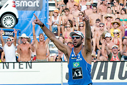 Marcion Araujo of Brazil celebrating victory at A1 Beach Volleyball Grand Slam tournament of Swatch FIVB World Tour 2010, on July 31, 2010 in Klagenfurt, Austria. (Photo by Matic Klansek Velej / Sportida)