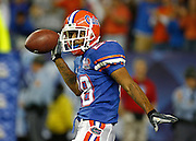 Florida CB Ryan Smith celebrates his interception during the SEC Championship game between the Arkansas Razorbacks and the Florida Gators at the Georgia Dome in Atlanta, GA on December 2, 2006.<br />