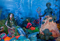 Taylor is transformed into a mermaid as Poseidon guards, for a corporate function for Paintertainment.ca