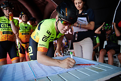 Chloe Hosking (AUS) signs on for Giro Rosa 2018 - Stage 2, a 120.4 km road race starting and finishing in Ovada, Italy on July 7, 2018. Photo by Sean Robinson/velofocus.com