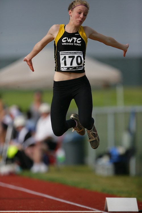(Charlottetown, Prince Edward Island -- 20090717) Jill Maceachen of Calgary Warriors competes in the long jump at the 2009 Canadian Junior Track & Field Championships at UPEI Alumni Canada Games Place on the campus of the University of Prince Edward Island, July 17-19, 2009.  Copyright Geoff Robins / Mundo Sport Images , 2009...Mundo Sport Images has been contracted by Athletics Canada to provide images to the media.