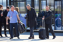LIVERPOOL, ENGLAND - Monday, May 16, 2016: Liverpool's Getty Images photographer John Powell and press officer Matt McCann board the squad plane to Basel as they fly out of Liverpool John Lennon Airport to Switzerland ahead of the UEFA Europa League Final against Sevilla FC. (Pic by David Rawcliffe/Propaganda)