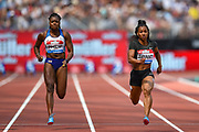 Dezerea Bryant of the United States of America and Asha Philip of Great Britain in the Women's 100m heats during the Muller Anniversary Games, Day One, at the London Stadium, London, England on 21 July 2018. Picture by Martin Cole.