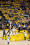Golden State Warriors forward Kevin Durant (35) shoots a free throw against the San Antonio Spurs during Game 2 of the Western Conference Quarterfinals at Oracle Arena in Oakland, Calif., on April 16, 2018. (Stan Olszewski/Special to S.F. Examiner)