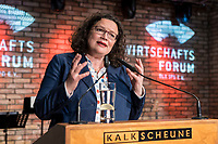 09 MAY 2019, BERLIN/GERMANY:<br /> Andrea Nahles, SPD Partei- und Fraktionsvorsitzende, Wirtschaftskonferenz und Parlementarischer Abend, Wirtschaftsforum der SPD, Kalkscheune<br /> IMAGE: 20190509-01-286