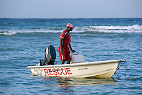 Rescue Boat and Lifeguard patroling Half Moon Beach in Jamaica