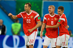 SAINT PETERSBURG, RUSSIA - Tuesday, June 19, 2018: Russia's Artem Dzyuba celebrates scoring the third goal during the FIFA World Cup Russia 2018 Group A match between Russia and Egypt at the Saint Petersburg Stadium. (Pic by David Rawcliffe/Propaganda)