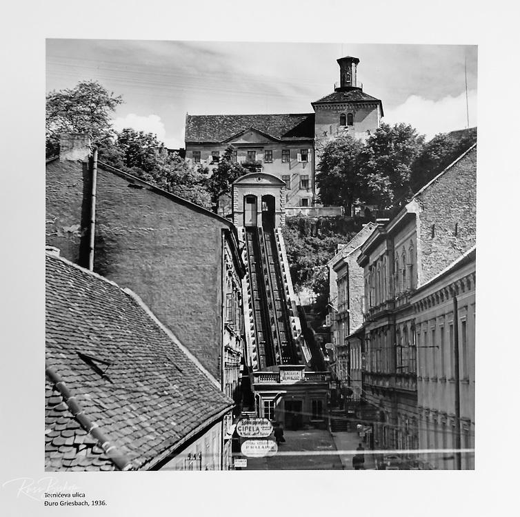 Historic photograph of old town Zagreb in Lotrščak Tower, Gradec, Zagreb, Croatia