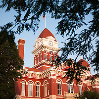 Old Lake County Courthouse in Crown Point Indiana. The Lake County Courthouse was Built in 1878 and is nicknamed The Grand Old Lady. The courthouse architecture is Romanesque and Georgian. Today it's used for events and has a ballroom and restaurants.