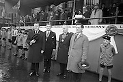 """17/03/1964<br /> 03/17/1964<br /> 17 March 1964<br /> St. Patrick's Day Parade, Dublin.  Thousands lined the streets of Dublin in blustery and wet weather to see the annual St. Patrick's Day parade organised by the National Agricultural and Industrial Development Association, which was the biggest ever. The Theme of the parade was """"Export"""". Picture shows the Minister of Justice, Mr Charles Haughey before the reviewing stand at the G.P.O., Dublin."""