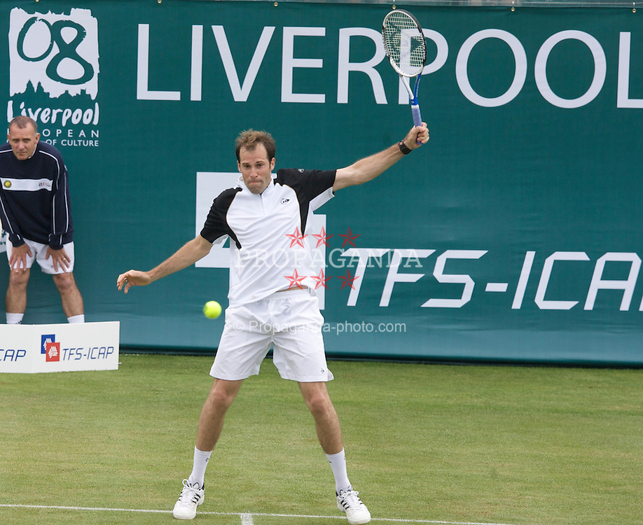 Liverpool, England - Tuesday, June 12, 2007: Greg Rusedski in action on day one of the Liverpool International Tennis Tournament at Calderstones Park. For more information visit www.liverpooltennis.co.uk. (Pic by David Rawcliffe/Propaganda)