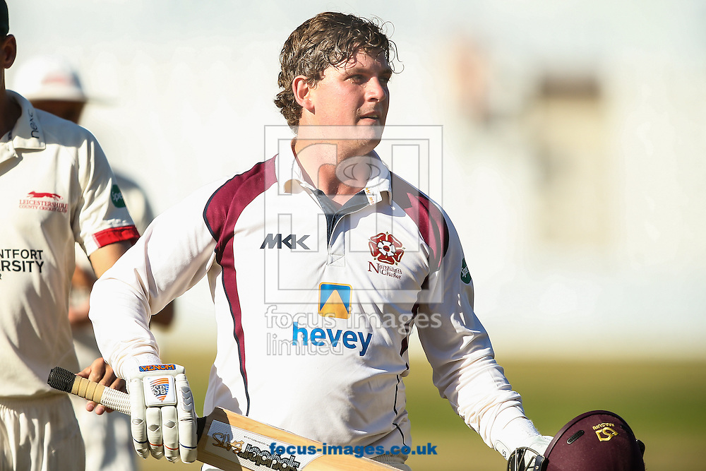Rob Newton of Northamptonshire CCC at the end of his innings of 202 runs not out during the Specsavers County C'ship Div Two match at the County Ground, Northampton<br /> Picture by Andy Kearns/Focus Images Ltd 0781 864 4264<br /> 15/08/2016