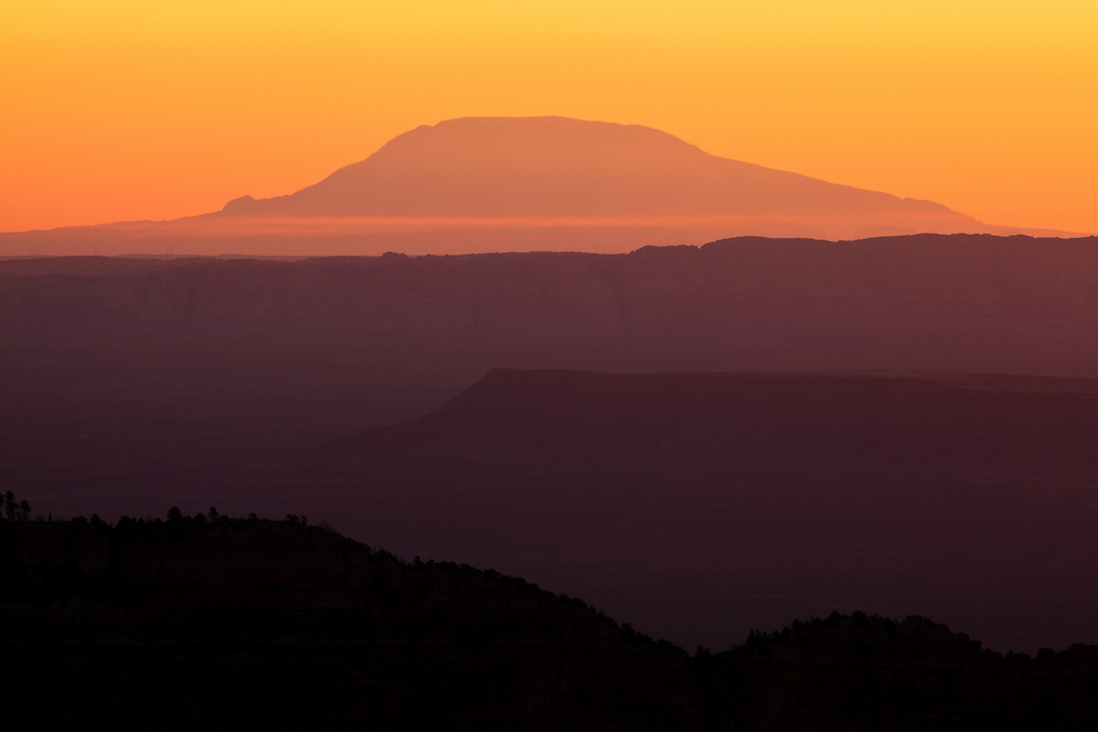 Navajo Mountain seen from Point Imperial, over 80 miles away, on the North Rim of Grand Canyon National Park.