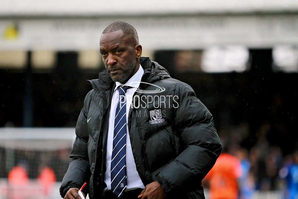 Southend United manager Chris Powell during the EFL Sky Bet League 1 match between Peterborough United and Southend United at London Road, Peterborough, England on 3 February 2018. Picture by Nigel Cole.