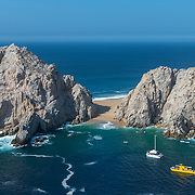 Aerial view of Lover's beach in Cabo San Lucas Bay.
