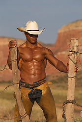 shirtless muscular smooth skinned cowboy working on a fence outdoors