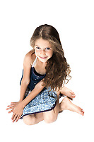 caucasian little girl smiling seductive isolated studio on white background
